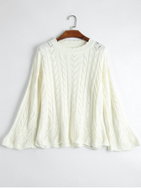online Crew Neck Cable Knit Sweater - OFF-WHITE ONE SIZE Mobile