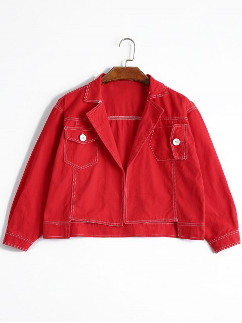 new High Low Lapel Denim Jacket - RED L Mobile