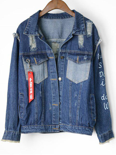 outfits Button Up Letter Destroyed Denim Jacket - DENIM BLUE ONE SIZE Mobile