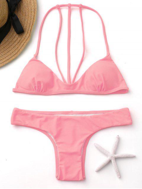 shops Fluorescence Color Straapy Bikini Set - FLUORESCENT PINK L Mobile