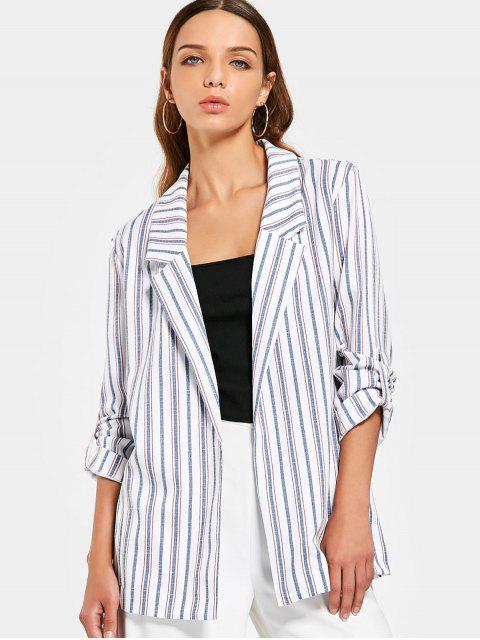 chic Buttoned Tabs Stripes Blazer - STRIPE S Mobile
