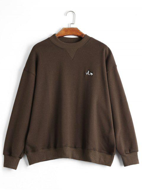 unique Drop Shoulder Embroidered Sweatshirt - COFFEE ONE SIZE Mobile