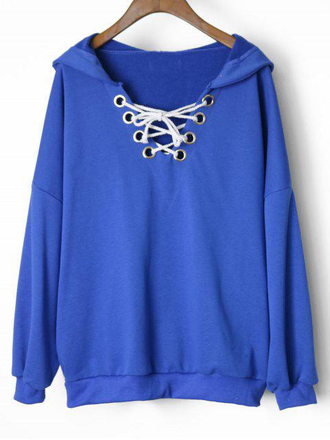 affordable Oversized Drop Shoulder Lace Up Hoodie - BLUE ONE SIZE Mobile