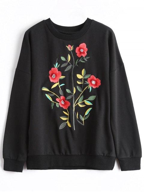 fashion Drop Shoulder  Pullover Embroidered Sweatshirt - BLACK XL Mobile