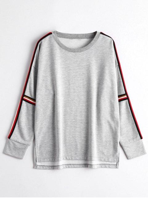 new High Low Striped Sweatshirt - GRAY L Mobile