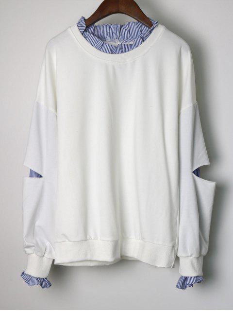fancy Cutout Ruffles Stripes Panel Sweatshirt - WHITE ONE SIZE Mobile