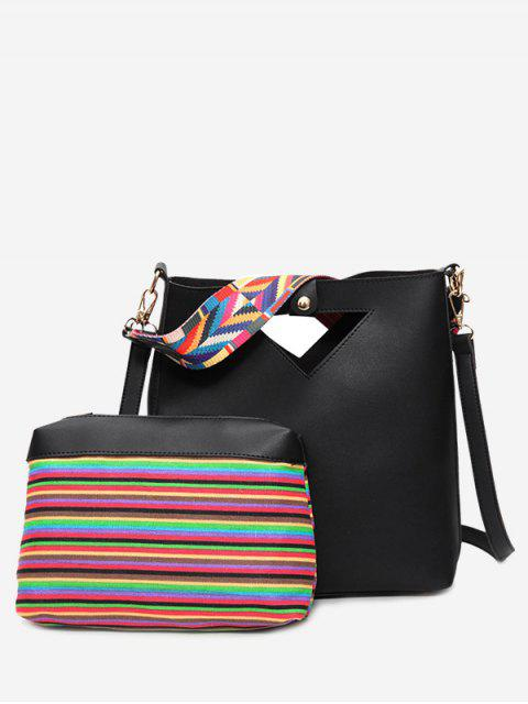 ladies Hollow Out Rainbow Striped Crossbody Bag Set - BLACK  Mobile