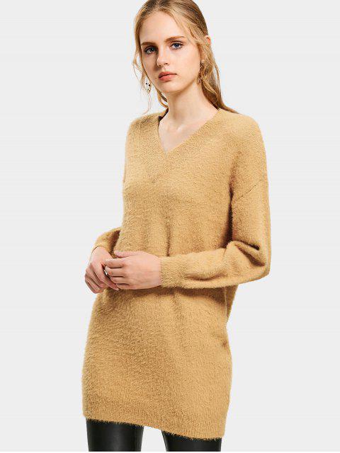 V Ausschnitt Lanternhülse Pullover Kleid - Khaki M Mobile