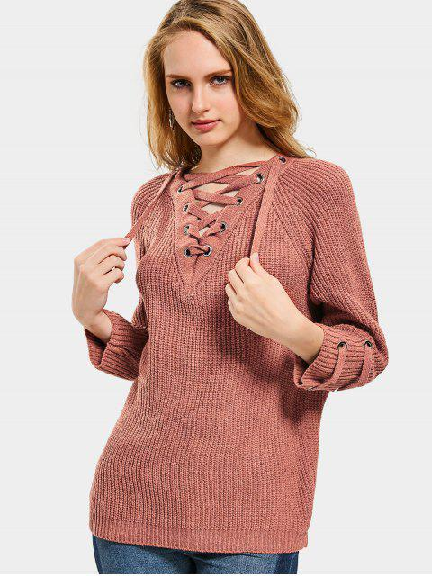 outfits Lace Up Pullover Sweater - SPICE ONE SIZE Mobile