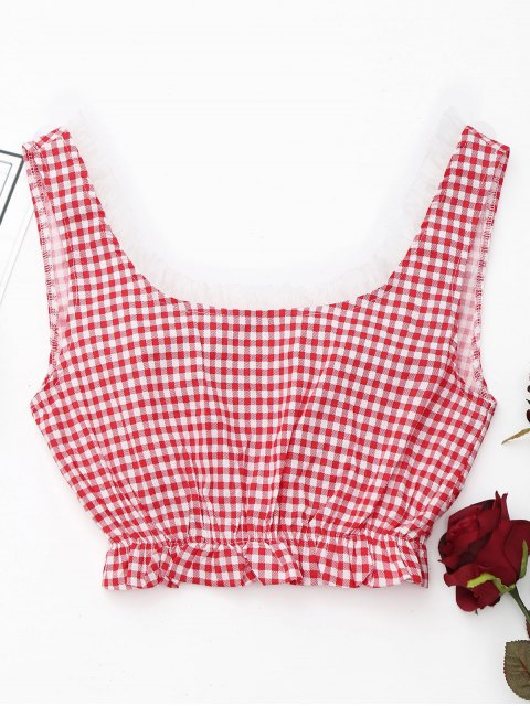 affordable Scoop Neck Plaid Cover Up Top - RED AND WHITE M Mobile