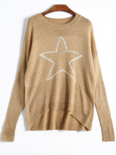 shop Pentagram High Low Knitwear - KHAKI ONE SIZE Mobile
