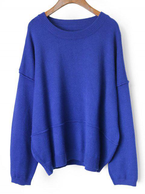shops Drop Shoulder Oversized Pullover Sweater - BLUE ONE SIZE Mobile