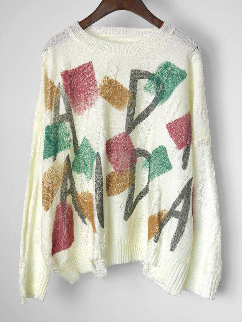 chic Graphic Cable Knit Panel Pullover Sweater - WHITE ONE SIZE Mobile