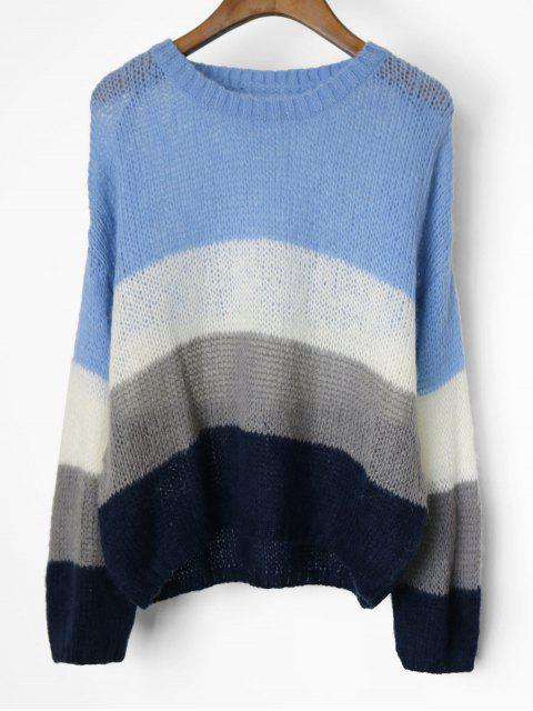 fancy Drop Shoulder Color Block Pullover Sweater - BLUE ONE SIZE Mobile