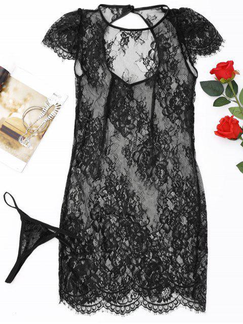 Robe de Nuit Transparente en Dentelle et Slip en T - Noir Taille Unique Mobile