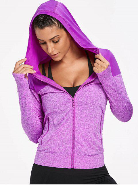 womens Hooded Heathered Sports Jacket - PURPLE M Mobile