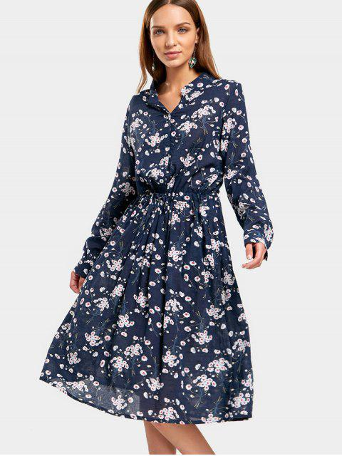 lady Drawstring Waist Tiny Floral Dress - FLORAL XL Mobile
