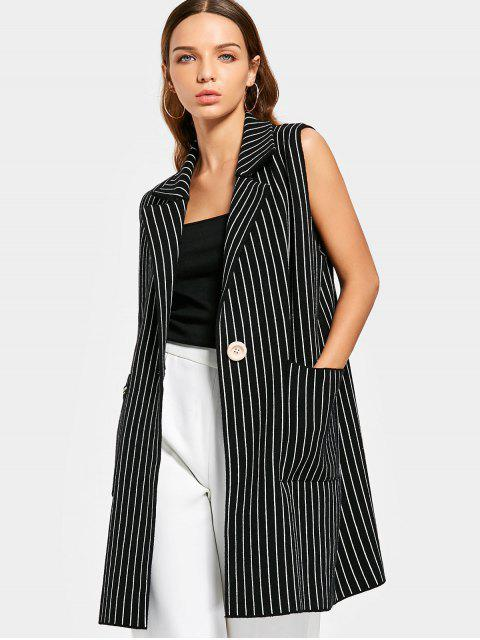 trendy Knitted Buttoned Stripes Waistcoat - STRIPE ONE SIZE Mobile