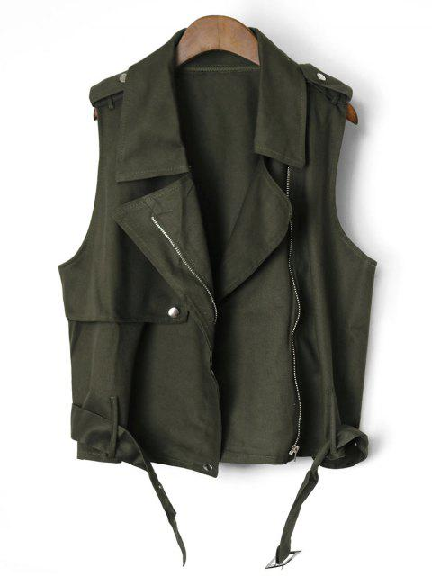 affordable Belted Cropped Zip Up Waistcoat - ARMY GREEN ONE SIZE Mobile