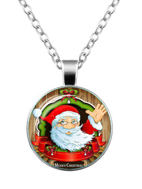 ladies Merry Christmas Santa Teardrop Bowknot Necklace - SILVER  Mobile