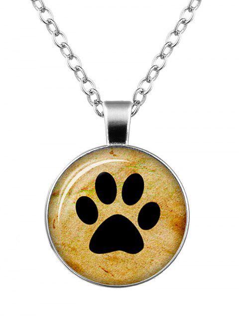 online Dog Paw Pattern Round Charm Necklace - SILVER  Mobile