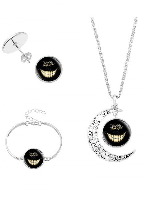 Alice  's Evil Smile Moon Collar Pendiente Pulsera - Plata  Mobile