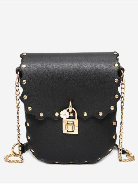 womens Chain Scallop Rivet Crossbody Bag - BLACK  Mobile