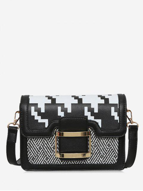 online Buckle Strap Geometric Metal Crossbody Bag - BLACK  Mobile