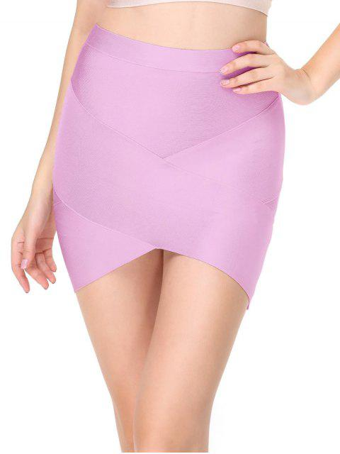 fancy High Waist Mini Bandage Skirt - PINKISH PURPLE L Mobile