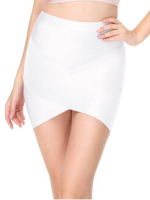 women's High Waist Mini Bandage Skirt - WHITE L Mobile