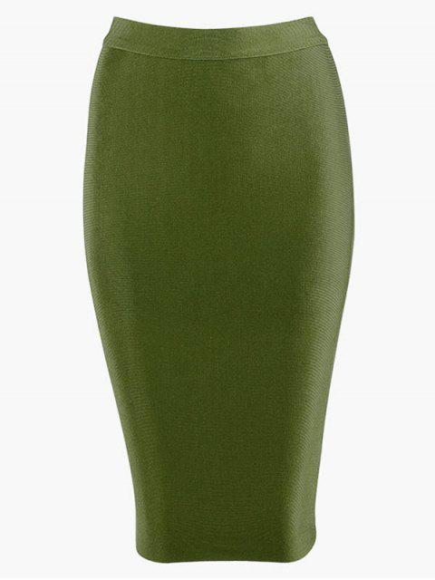 shop High Waist Plain Bodycon Skirt - ARMY GREEN L Mobile