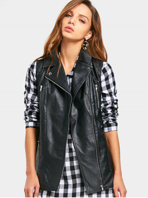 affordable PU Leather Waistcoat - BLACK 2XL Mobile