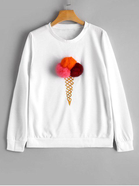 T-shirt à la glace Embellished Ball Fuzzy - Blanc M Mobile