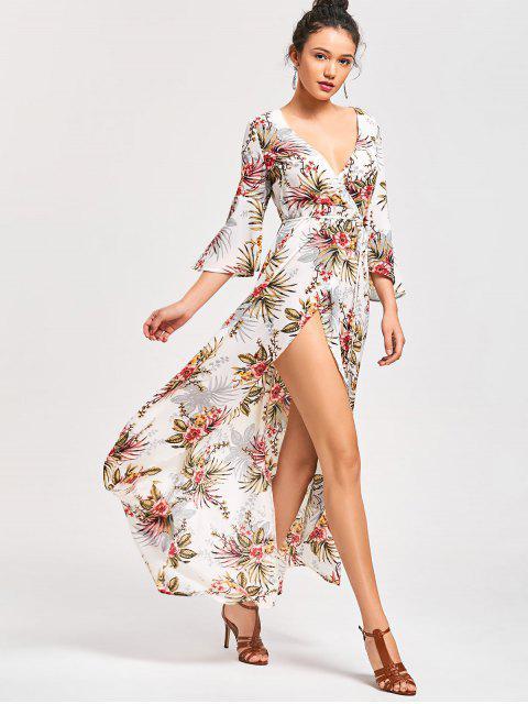 chic Floral High Split Flare Sleeve Surplice Dress - FLORAL L Mobile