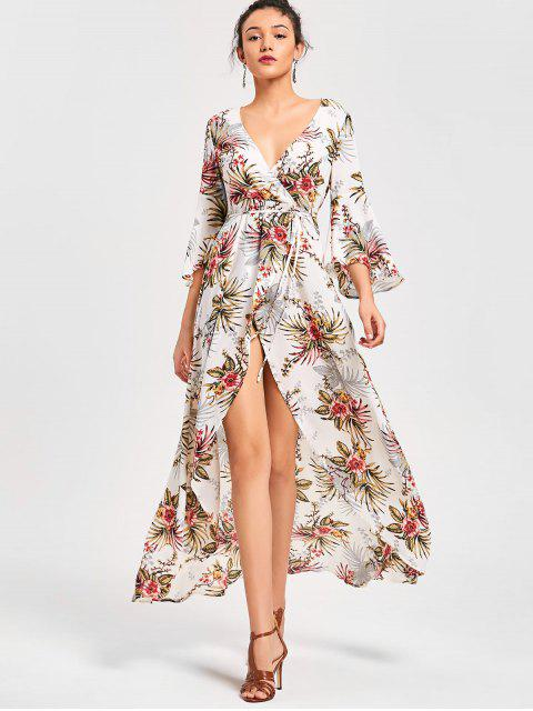 chic Floral High Split Flare Sleeve Surplice Dress - FLORAL L Mobile