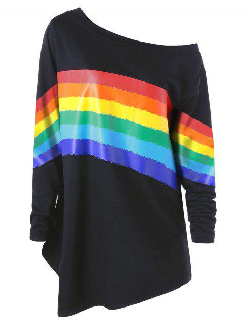 Plus Size Bunte Streifen Skew Neck Pullover Sweatshirt - Schwarz 3XL Mobile