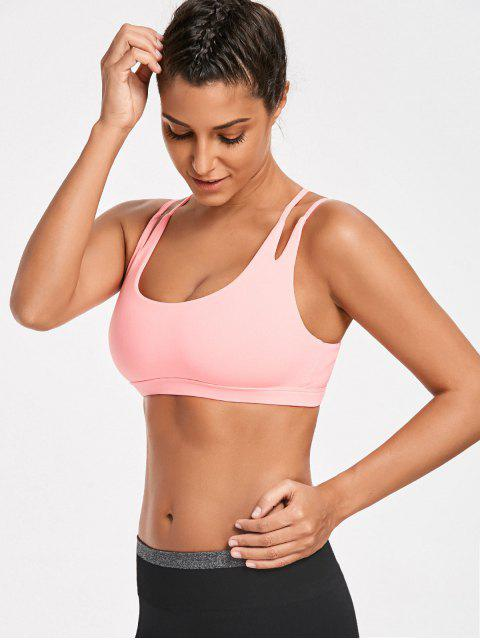 outfits High Impact Strappy Back Sporty Bra - FLUORESCENT PINK M Mobile