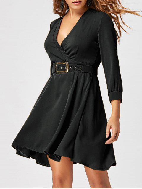 women's Fit and Flare Dress with Belt - BLACK 2XL Mobile