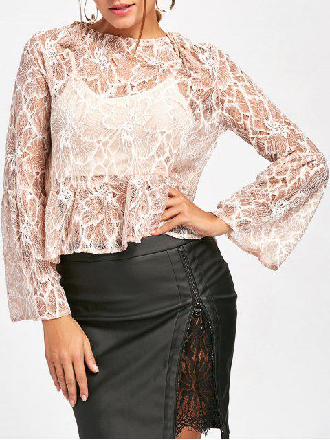 best Flare Sleeve Lace Sheer Blouse - NUDE XL Mobile