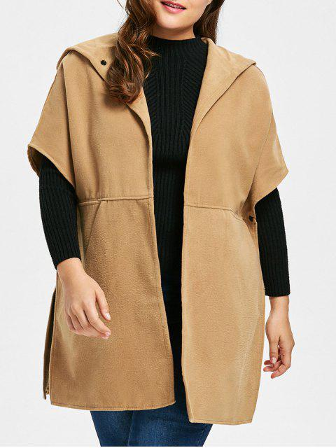 new Plus Size Faux Suede Hooded Poncho Coat - CAMEL 3XL Mobile