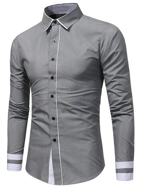 Camisa slim fit color block - Gris 2XL Mobile