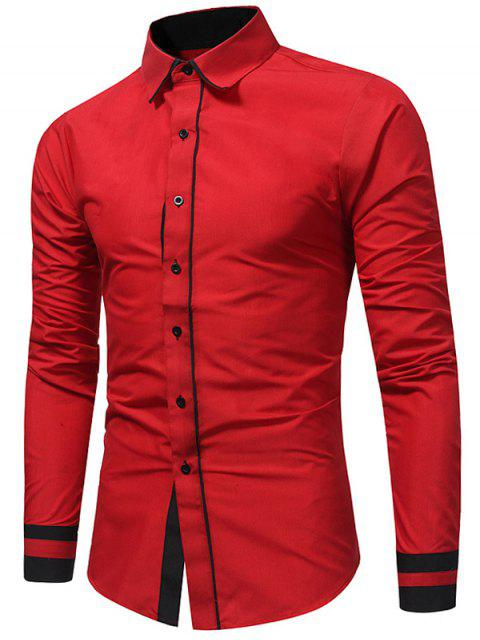 Camisa slim fit color block - Rojo L Mobile