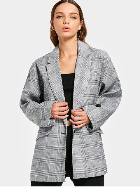 best Long Sleeve Buttoned Checked Blazer - CHECKED L Mobile