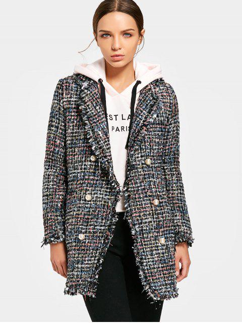 affordable Heathered Double-breasted Tweed Coat - BLACK L Mobile