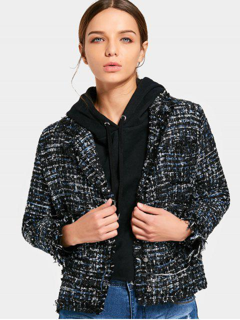 womens Button Up Frayed Tweed Blazer - BLACK M Mobile