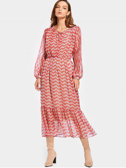 Flounces Floral Voir à travers la robe Maxi avec la robe Cami - Floral S Mobile