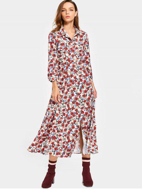 chic Flounces Floral Shirt Maxi Dress - FLORAL L Mobile