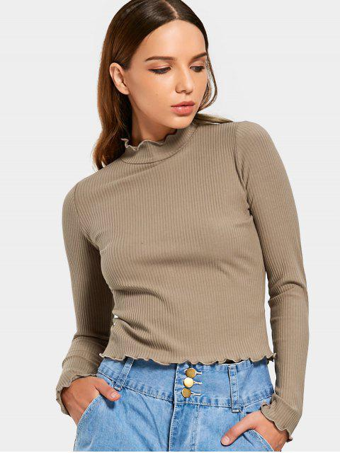 outfit Ruffles Knitted Ribbed Top - KHAKI M Mobile