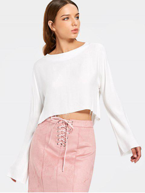 buy Cropped Frayed High Low Top - WHITE M Mobile