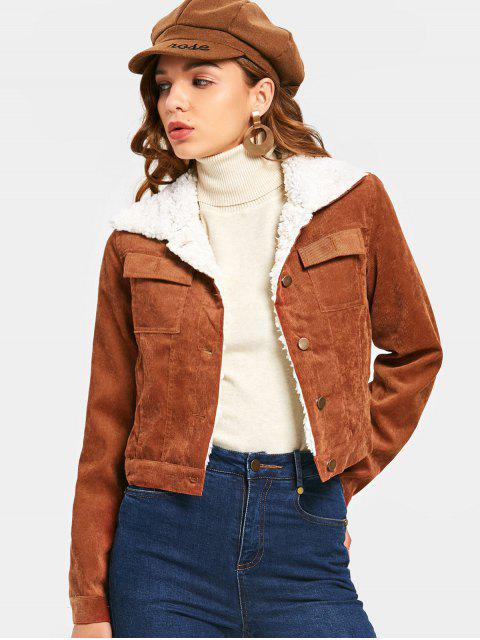 women Shearling Cropped Corduroy Jacket - BROWN M Mobile